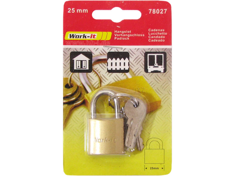 Padlock Solid 25mm<br>with 6 keys