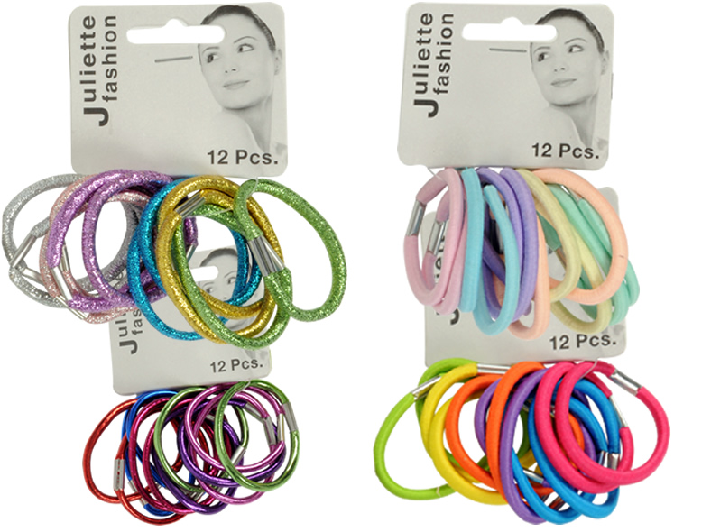 Elastic hair bands<br>12 on card