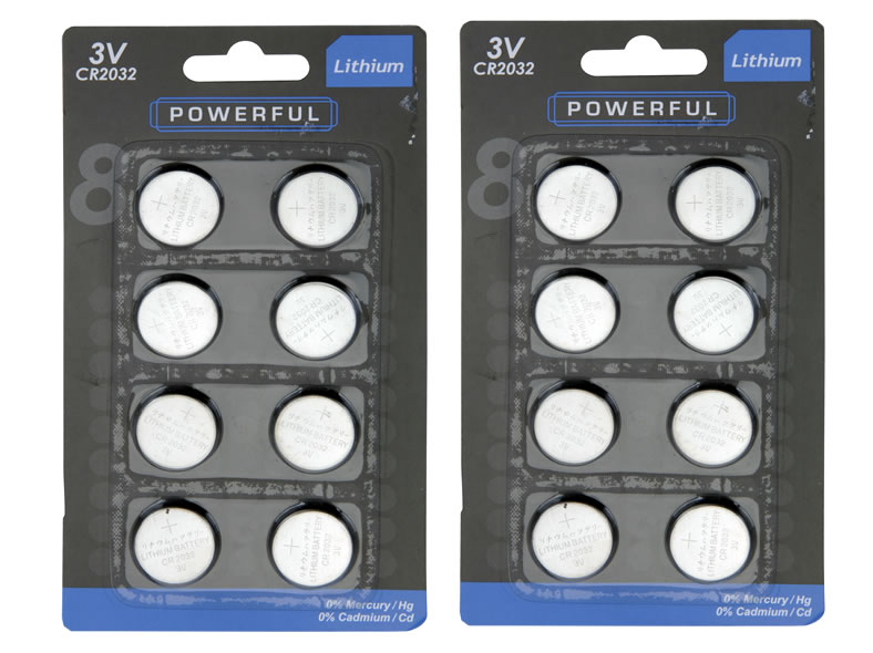 Batteries Lithium<br> button cell CR2032<br>8 Pack