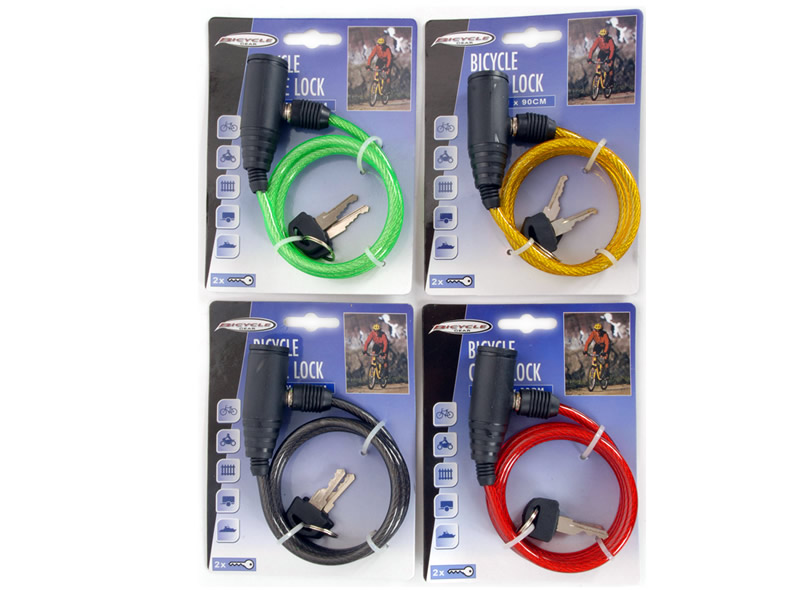Bicycle cable lock<br> steel wire 6mm x<br>90cm