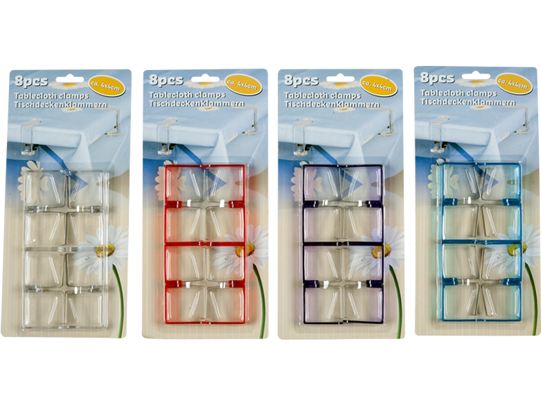 Tablecloth clips<br> in color with a<br>strong spring in