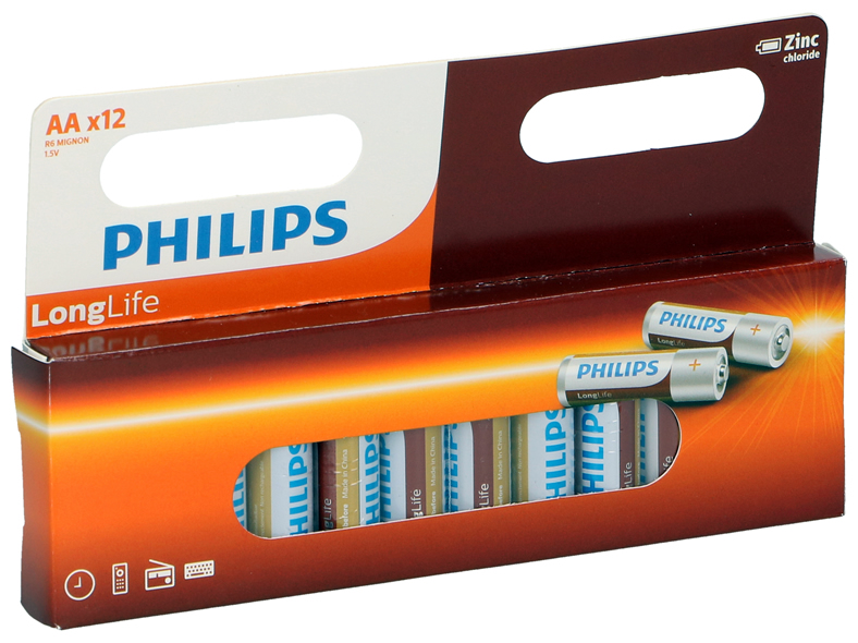 Batterien R6 Mignon AA, 12 Pack, Philips