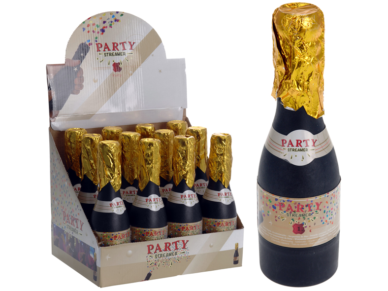 Konfettiwerfer, Party Popper, Sektflasche